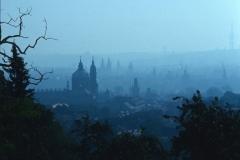Prague misty skyline